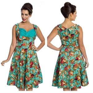 Lindy Bop Small Turquoise Floral Midi Dress